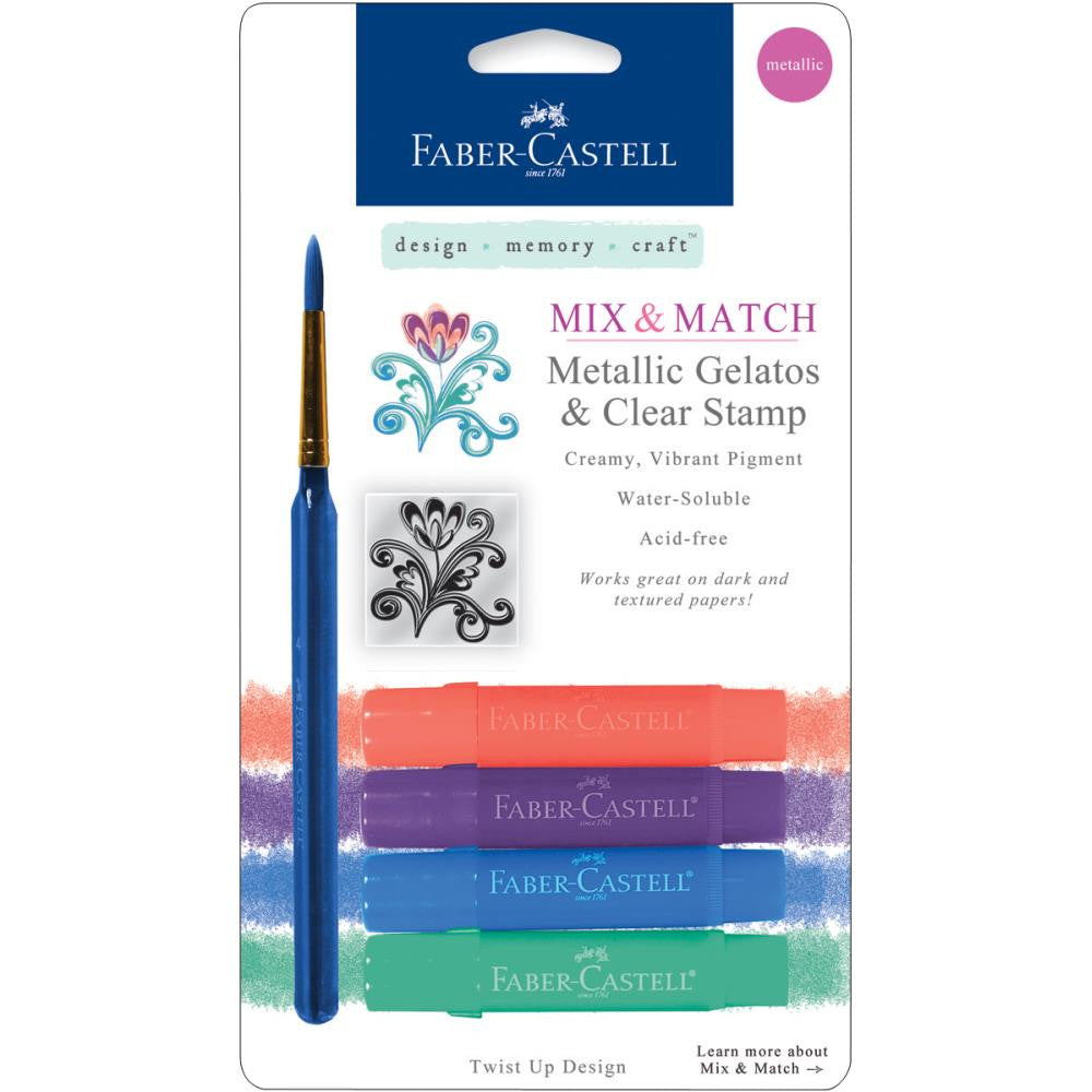 Faber Castell - Mix and Match Gelatos & Clear Stamp Set - Metallics - 6 piece set