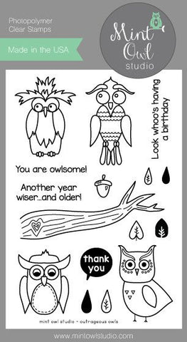 "Mint Owl Studio - 4"" x 6"" Stamp Set - Outrageous Owls"