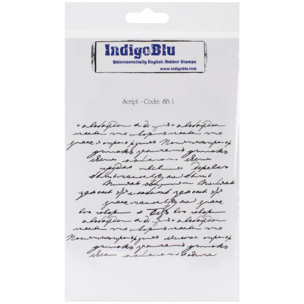 "IndigoBlu Cling Mounted Stamp 7""X4.75"" - Script Background"