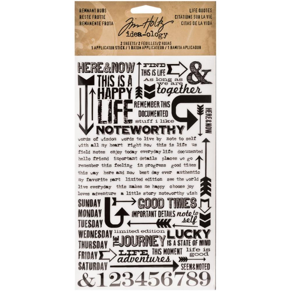 Tim Holtz Idea-Ology Remnant Rubs Rub-Ons - Life Quotes