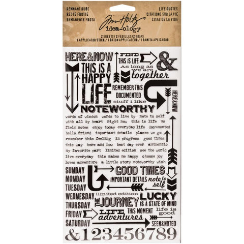 "Tim Holtz Idea-Ology Remnant Rubs Rub-Ons 4.75""X7.75"" Sheets 2/Pkg - Life Quotes"