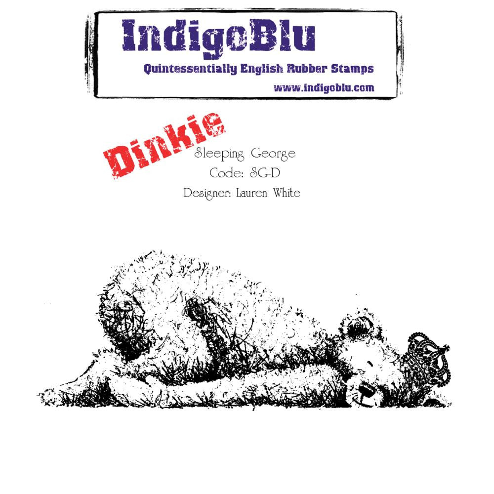 "IndigoBlu Cling Mounted Stamp 4""X4"" - Dinkie - Sleeping George"