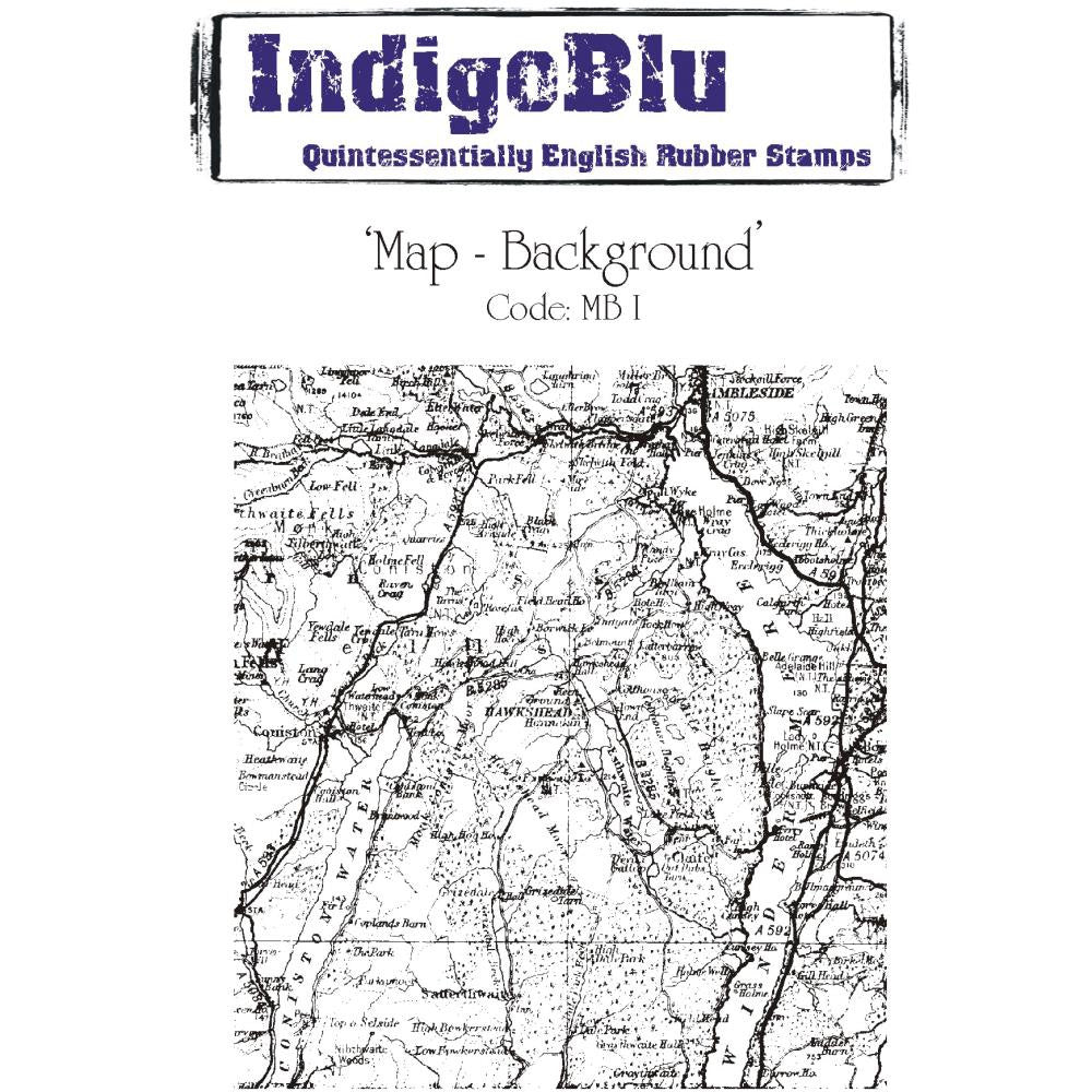 "IndigoBlu Cling Mounted Stamp 5"" x 4""-  Map- Background"