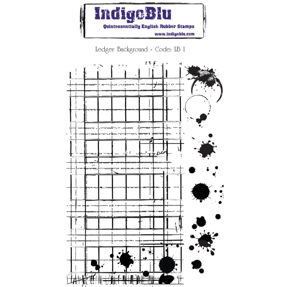 "IndigoBlu Cling Mounted Stamp 5"" x 8""-  Ledger Background"