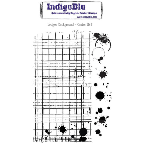 "***New Item*** IndigoBlu Cling Mounted Stamp 5"" x 8""-  Ledger Background"