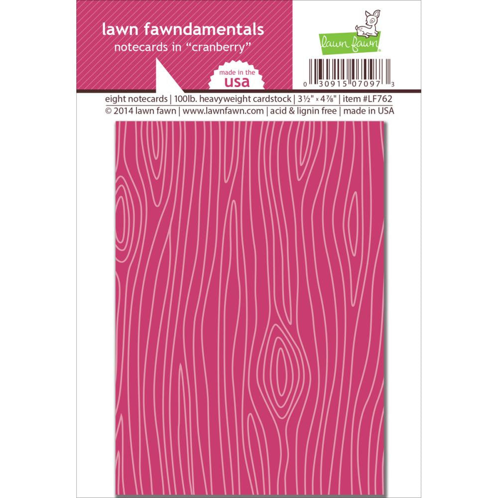 "Lawn Fawn, Woodgrain Notecards, 3.5""X4.875"", 8/Pkg - Cranberry"