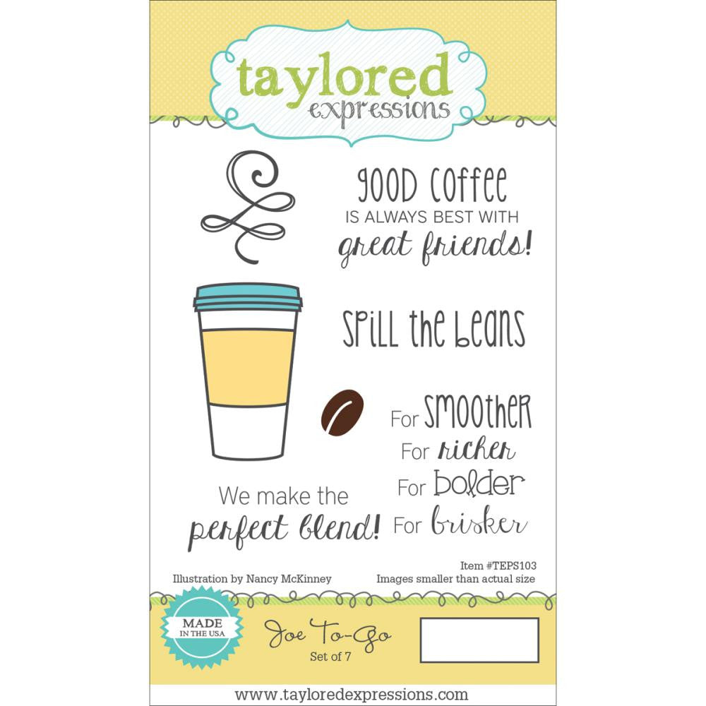 "Taylored Expressions Cling Stamp & Die Set 5.5""X3"" - Joe To-Go"