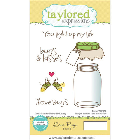 "Taylored Expressions Cling Stamp & Die Set 5.5""X3"" - Love Bugs"