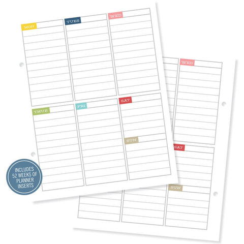 "Simple Stories Sn@p! Life Documented Double-Sided Inserts (1 week per page horizontal) 6""X8"" 26/Pkg"