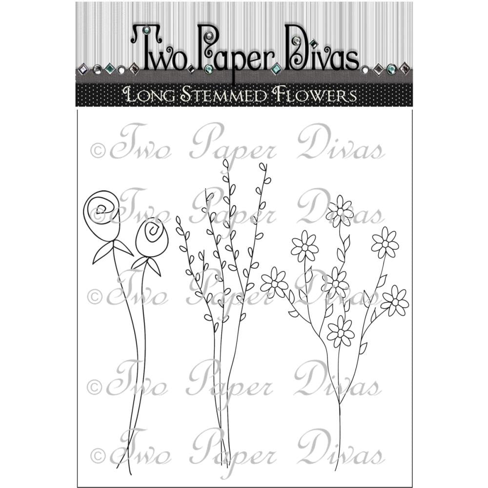 "Two Paper Divas Clear Stamps 9.5""X6.25"" - Long Stemmed Flowers"