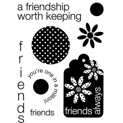 "My Sentiments Exactly Clear Stamps 3""X4"" Sheet - Friends Always"