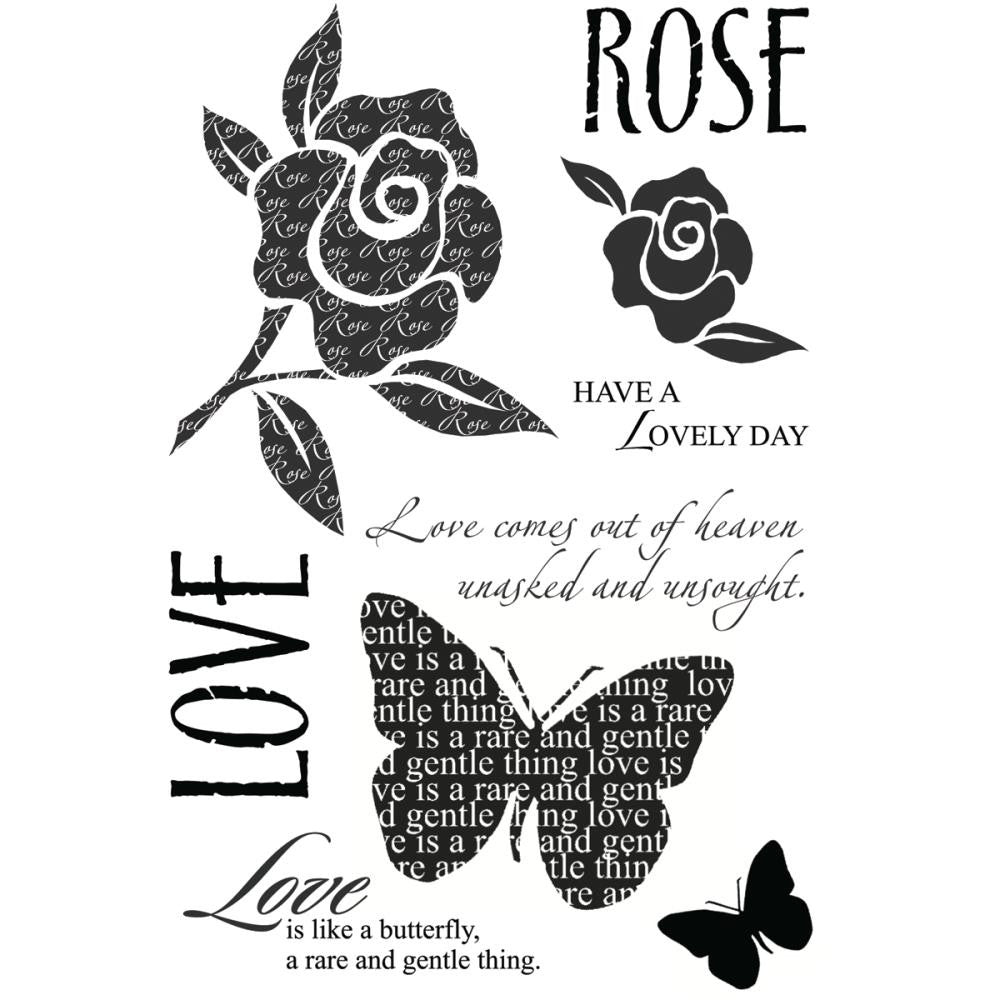 "My Sentiments Exactly Clear Stamps 4"" x 6"" Sheet - Lovely Rose"