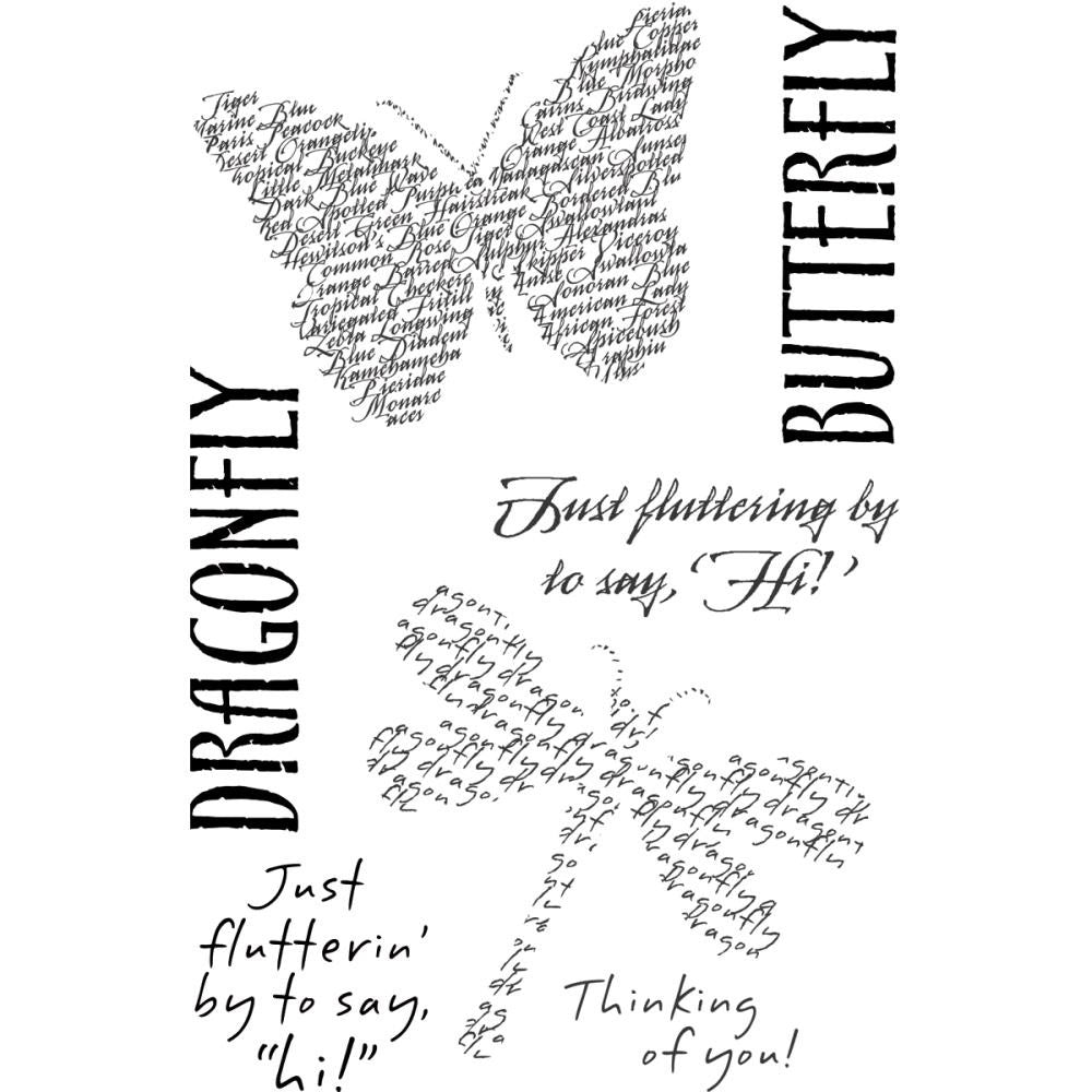 "My Sentiments Exactly Clear Stamps 4"" x 6"" Sheet - Fluttering By"