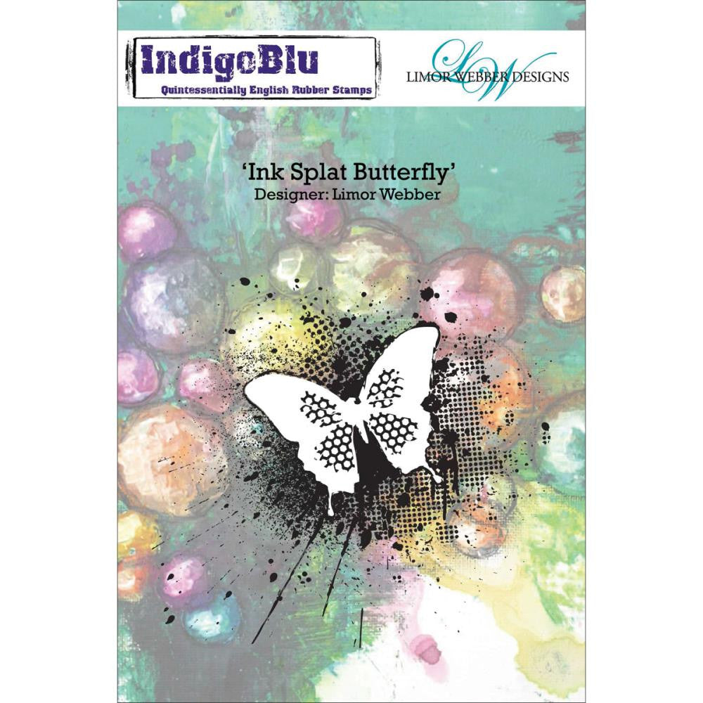 "IndigoBlu - Cling Mounted Stamp 5""X4""- Ink Splat Butterfly"