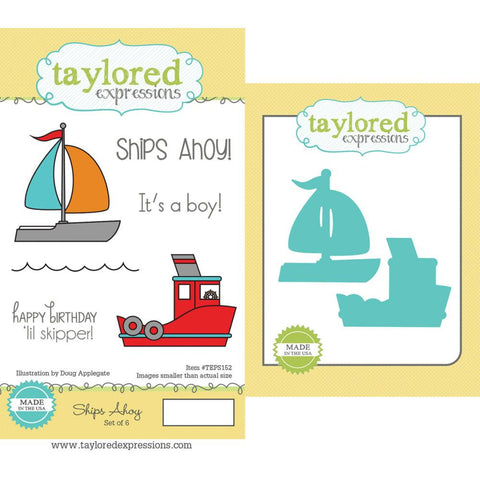 "Taylored Expressions Cling Stamp & Die Set 5.5""X3"" - Ships Ahoy"