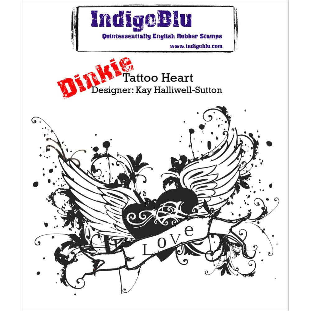 "IndigoBlu Cling Mounted Stamp 3""X3"" - Dinkie Tattoo Heart"