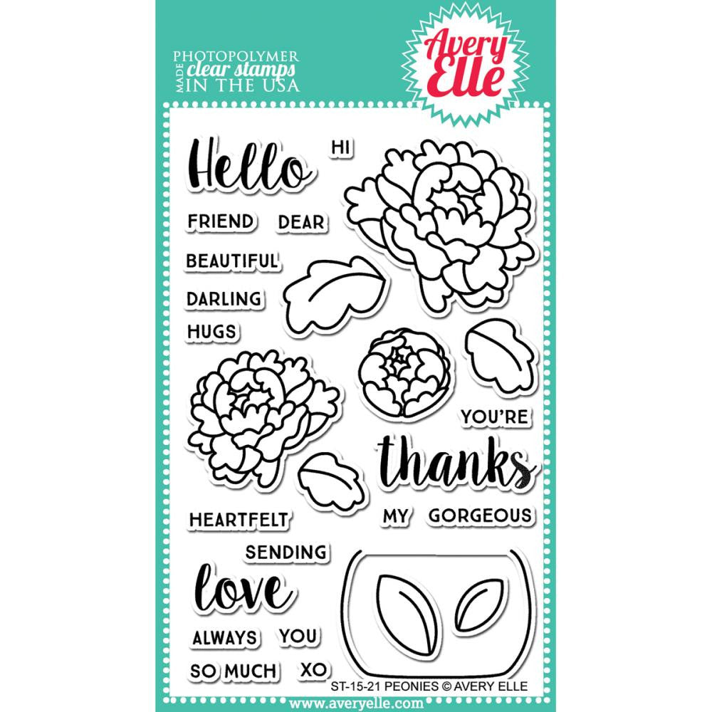 "Avery Elle Clear Stamp Set 4""X6"" - Peonies"
