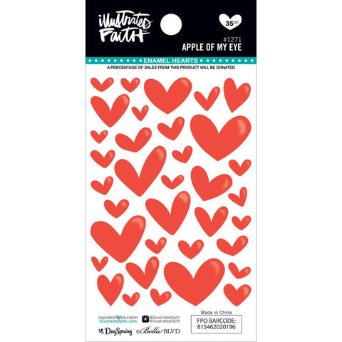 ***New Item*** Illustrated Faith,  Basics Enamel Heart Stickers - Apple Of My Eye
