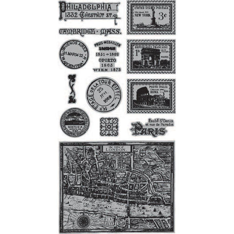 Hampton Art, Graphic 45 Cityscapes Cling Stamps - Two