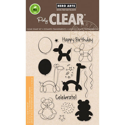 "***New Item*** Hero Arts, Clear Stamp, 4"" x 6"" - Balloon Animal Birthday"