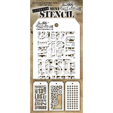 Stampers Anonymous - Tim Holtz - Layering Stencil 3/Pkg - Set #1