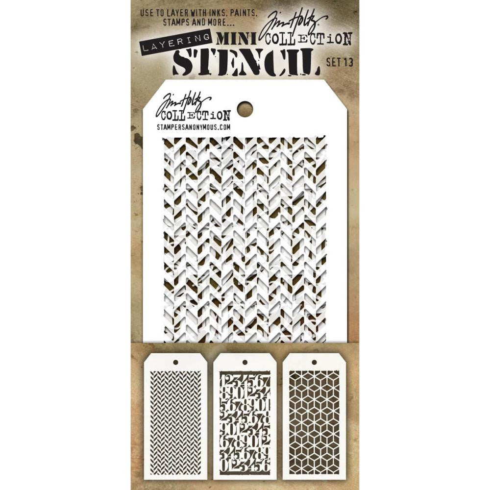 Stampers Anonymous - Tim Holtz - Layering Stencil 3/Pkg - Set #13