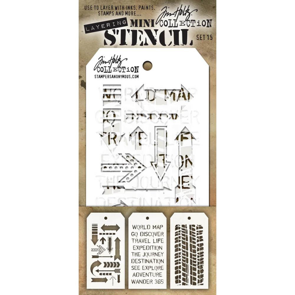 Stampers Anonymous - Tim Holtz - Layering Stencil 3/Pkg - Set #15