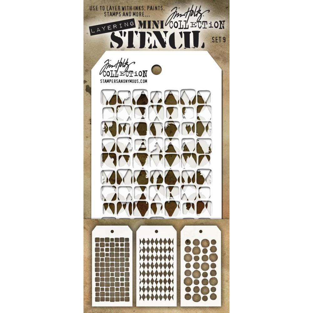 Stampers Anonymous - Tim Holtz - Layering Stencil 3/Pkg - Set #9