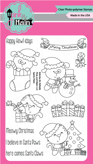 "Pink & Main - 4"" x 6"" Stamp Set - Santa Paws (coordinates with ""Santa Paws"" Dies)"