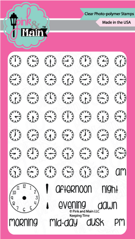 "Pink & Main - 4"" x 6"" Stamp Set - Keeping Time"