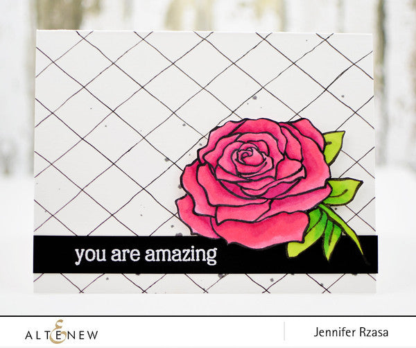 "Altenew - 4"" x 6"" Clear Stamp Set - Penned Rose"