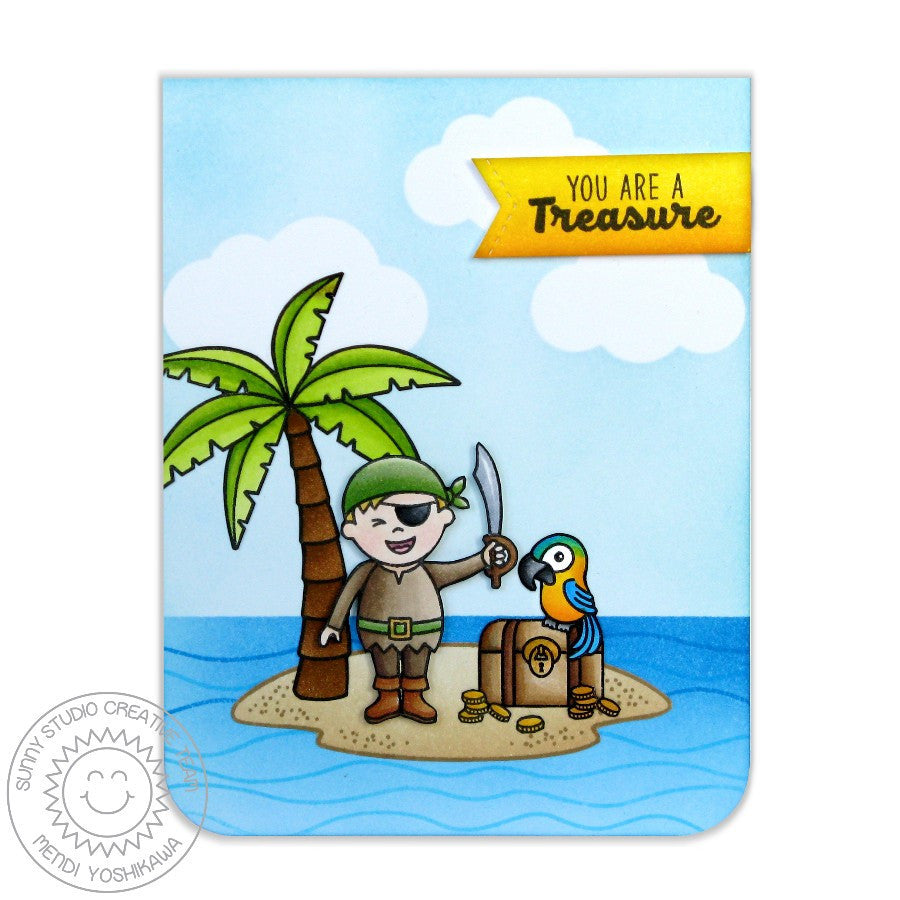 Sunny Studio - Photopolymer Clear Stamps - Pirate Pals