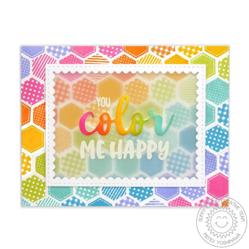 Sunny Studio - Photopolymer Clear Stamps - Quilted Hexagons