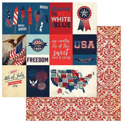 Photoplay Paper - Red, White & Blue Double-Sided Cardstock - Rockets Red Glare