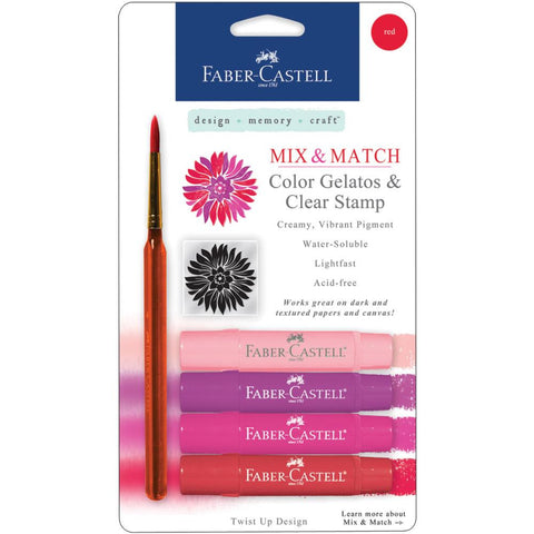 Faber Castell - Mix and Match Gelatos & Clear Stamp Set - Reds - 6 piece set