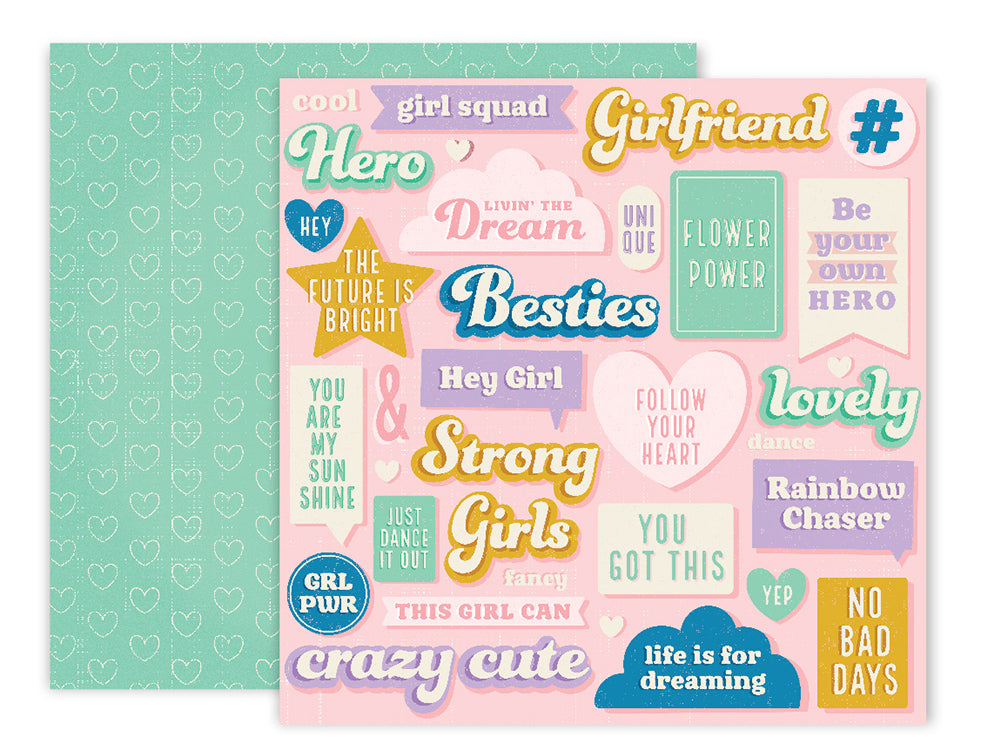 American Crafts - Wild Child Double-Sided Cardstock - #2 Besties