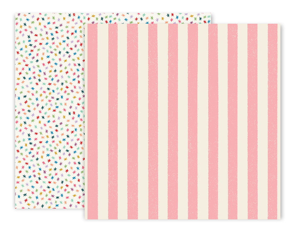 American Crafts - Wild Child Double-Sided Cardstock - #4 Pink Stripes/Confetti