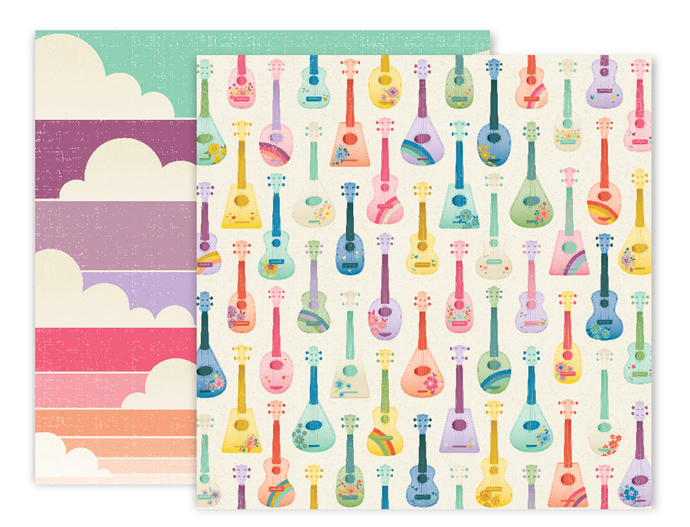 American Crafts - Wild Child Double-Sided Cardstock - #6 Guitars/Clouds