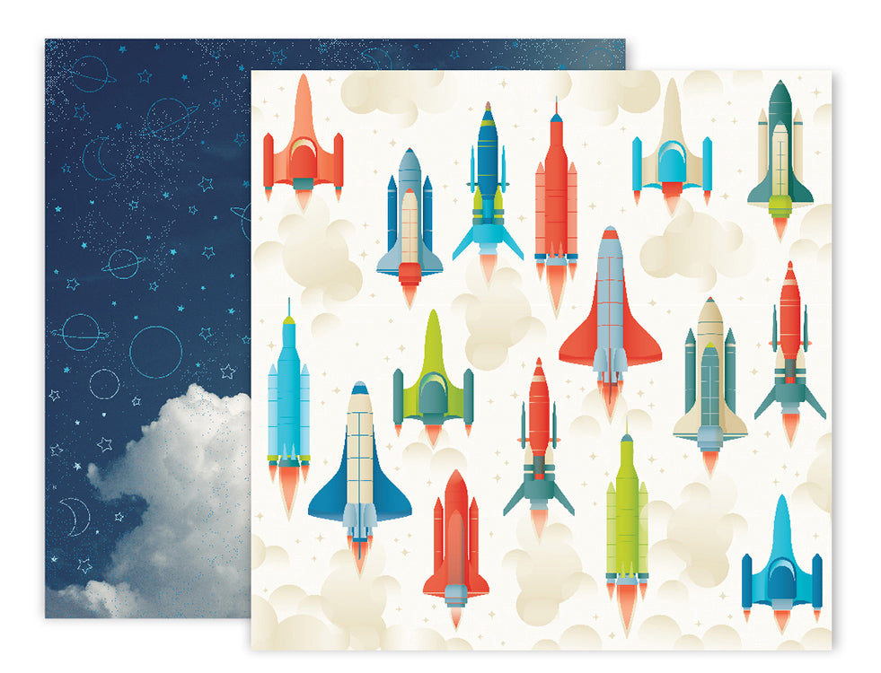 American Crafts - Wild Child Double-Sided Cardstock - #9 Rockets/Night Sky