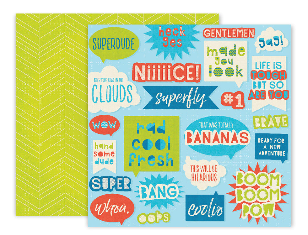 American Crafts - Wild Child Double-Sided Cardstock - #10 Superdude
