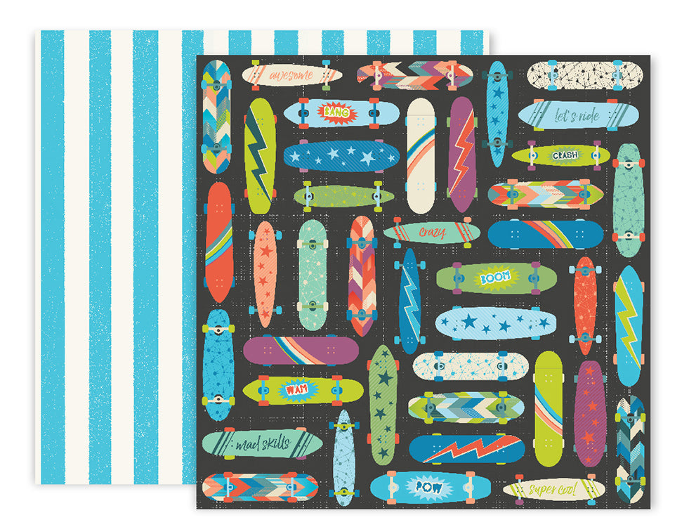 American Crafts - Wild Child Double-Sided Cardstock - #12 Skateboards/Blue Stripes