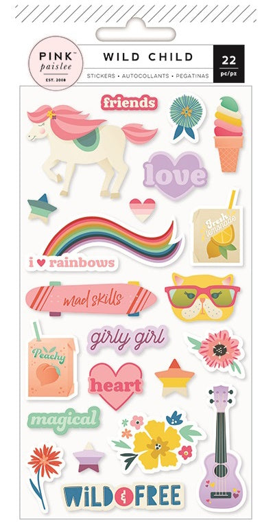 American Crafts - Wild Child Stickers - Girl