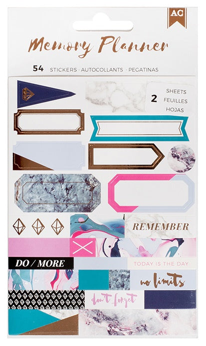 American Crafts - Memory Planner Stickers - Marble Crush Labels