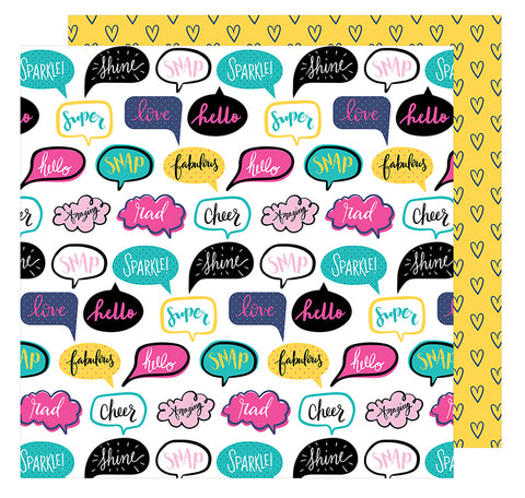 ***Pre-Order*** American Crafts - Glitter Girl Double-Sided Cardstock - Talk It Up