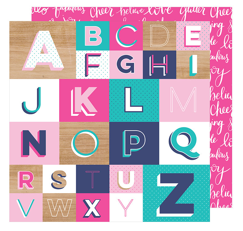 American Crafts - Glitter Girl Double-Sided Cardstock - Spell It Out