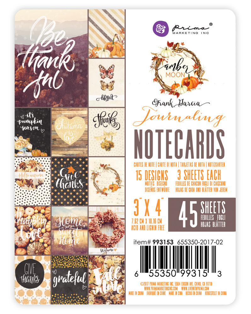 "Prima Marketing - Amber Moon Journaling Notecards - 3"" x 4"""