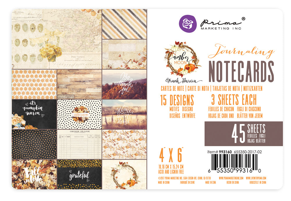 "Prima Marketing - Amber Moon Journaling Notecards - 4"" x 6"""