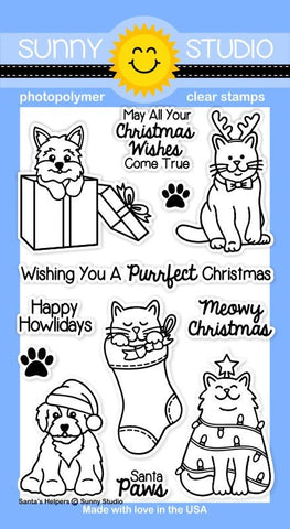 Sunny Studio, 4x6 Photopolymer Clear Stamp Set - Santa's Helpers