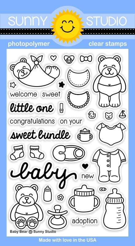 "Sunny Studio - 4"" x 6"" Photopolymer Clear Stamp Set - Baby Bear"