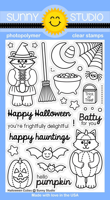 Sunny Studio - Photopolymer Clear Stamps - Halloween Cuties